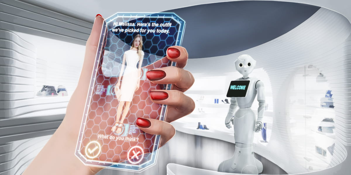 shopper uses augmented reality to pick clothing