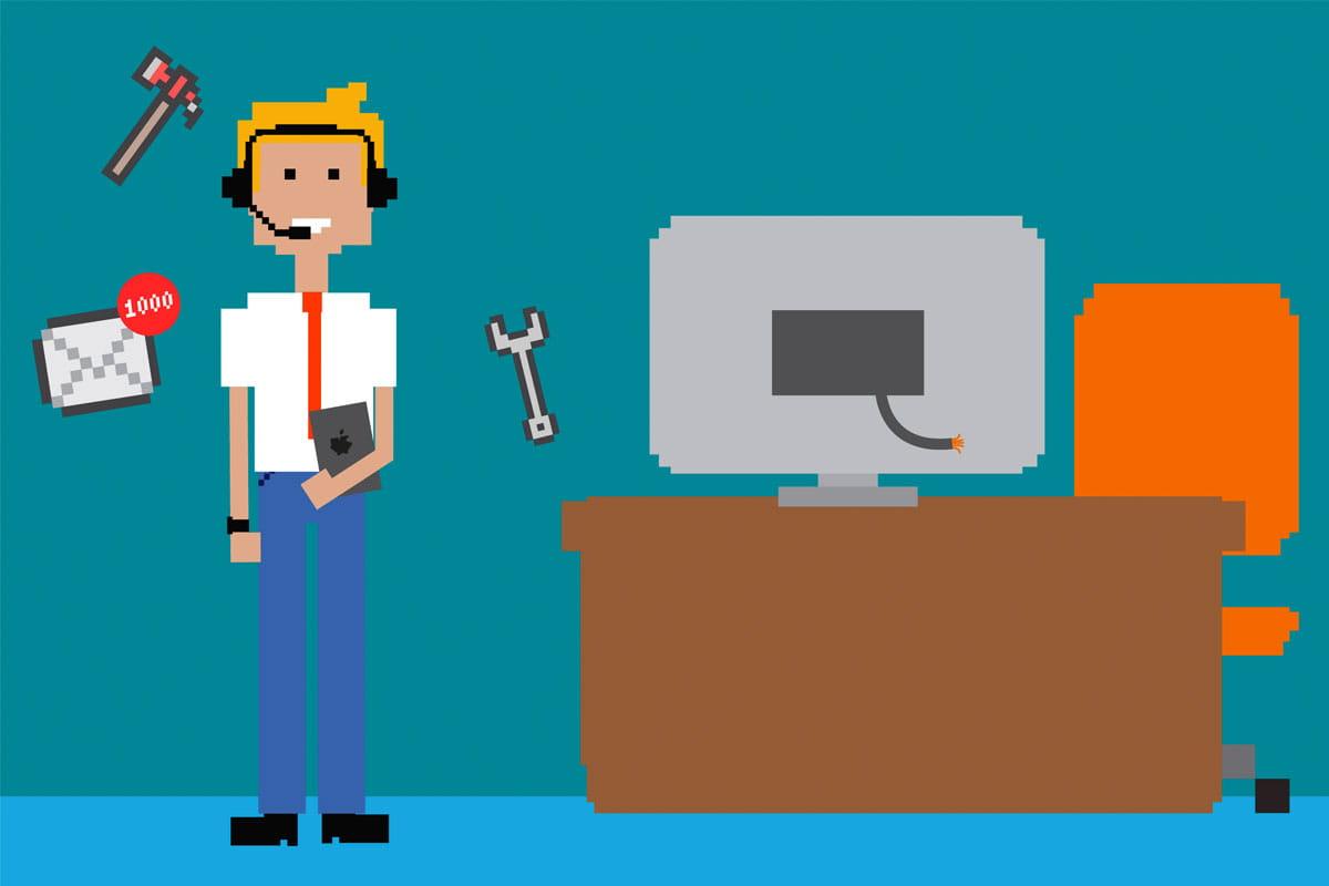 Illustration of an IT support/help desk worker