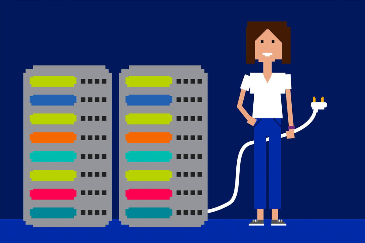 Illustration of an IT technical support manager