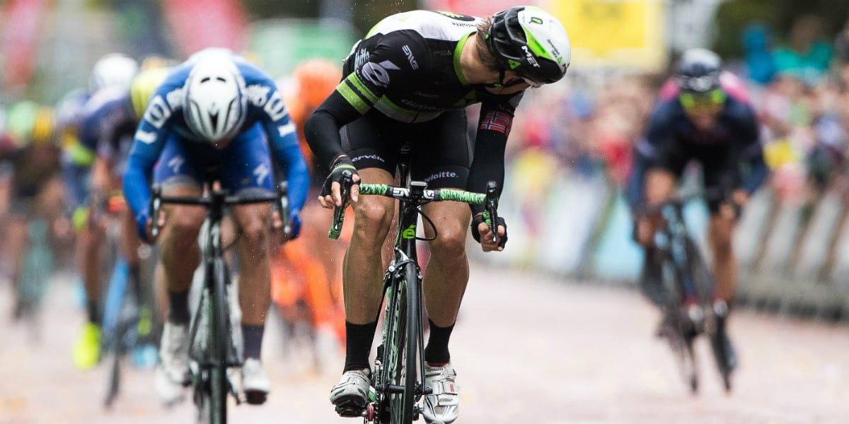 cycling race leader looks back to check for attacks