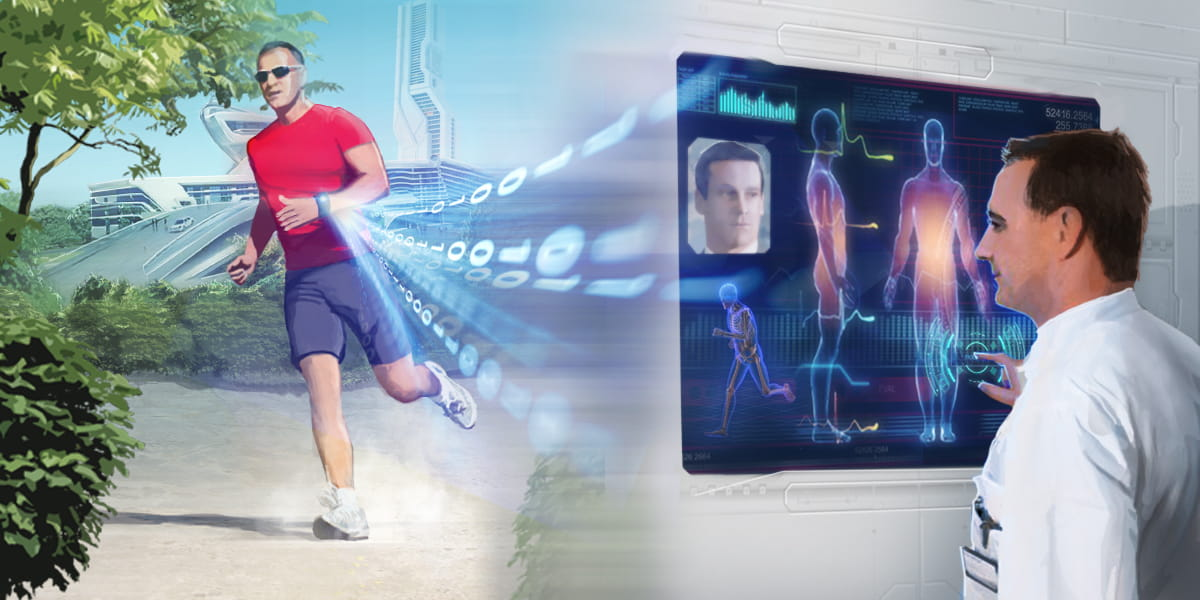 future of healthcare, a wearable device sends data through to doctor