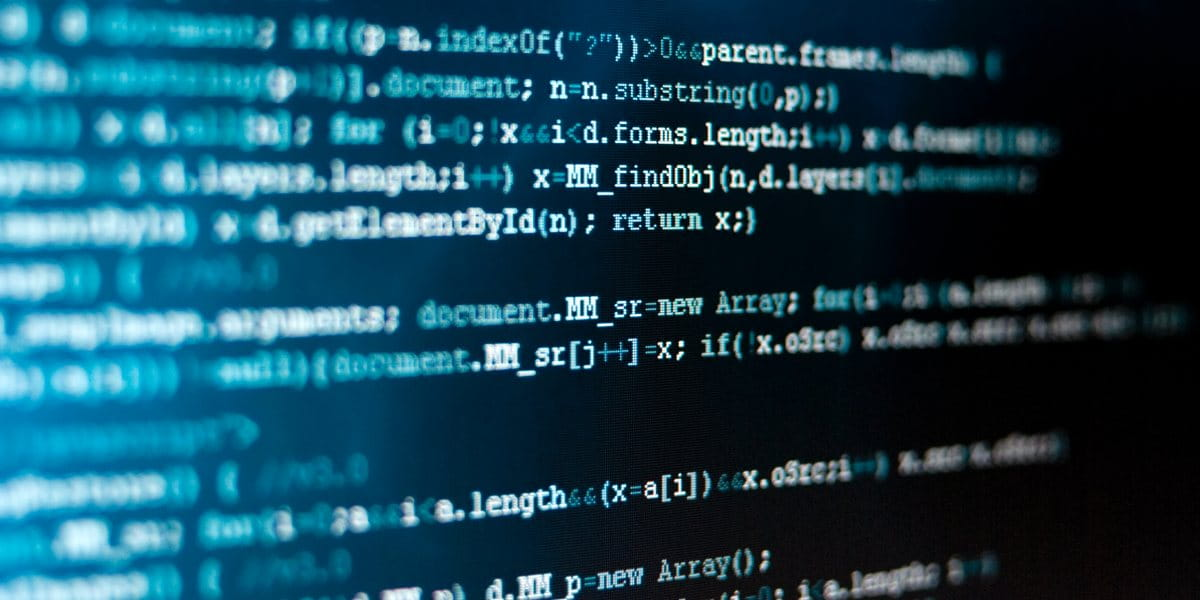 computer screen of code to highlight cyber security software