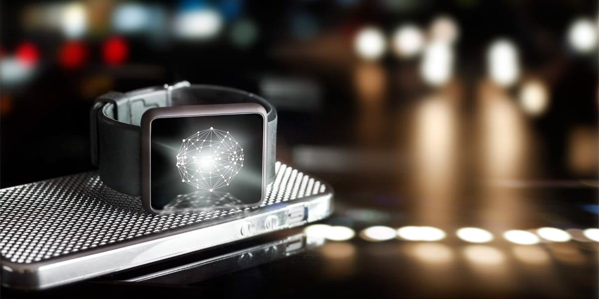 a smart watch connects to a smartphone showing technology options for primary care