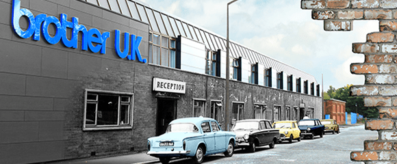 collage of vintage car outside the brother uk offices