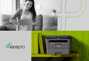 Tiled EcoPro subscription service preview with logo and printer situ images
