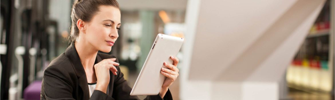 woman on a tablet device
