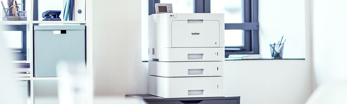 Brother managed print services printer on a desk