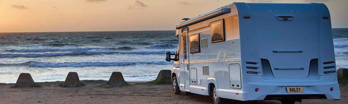 Bailey motorhome parked looking out to sea