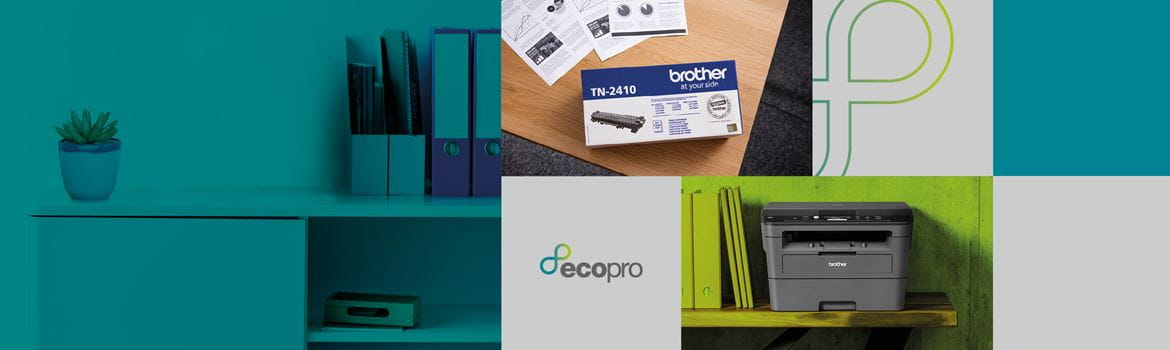 Tiled EcoPro subscription service banner with logo and printer situ images
