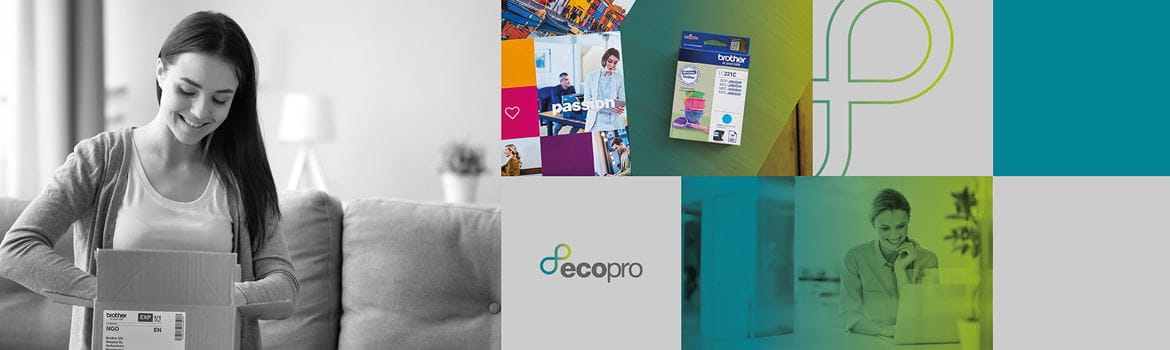 Selection of images of Brother ink cartridge, lady opening a parcel and lady working at her laptop