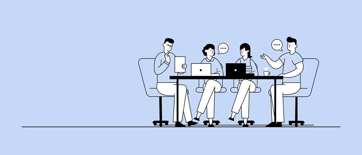 Illustration of four work colleagues having a meeting around a table with notebook computers in an office environment
