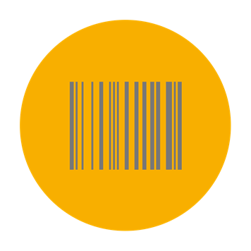 Barcode icon on yellow background
