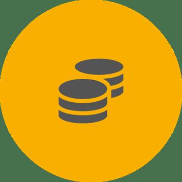 Grey cost saving icon on a round orange background