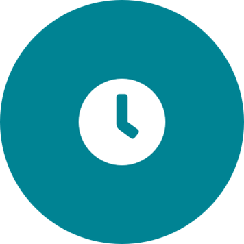 White clock icon on a round teal background
