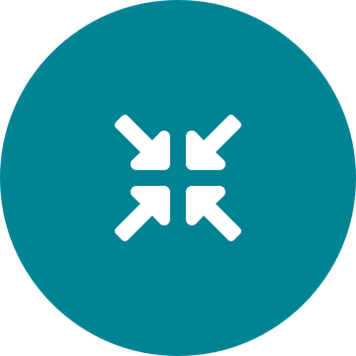 White compress arrows icon on a round teal background