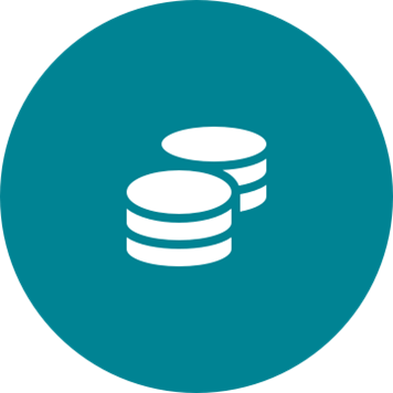 White cost saving icon on a round teal background