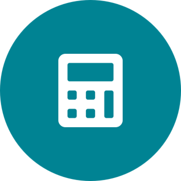 White budget calculator icon on a round teal background