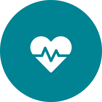 White increased lifespan heartbeat icon on a round teal background