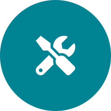 White tools icon on a round teal background