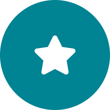 White customer satisfaction star icon on a round teal background