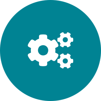 White integrated cogs icon on a round teal background