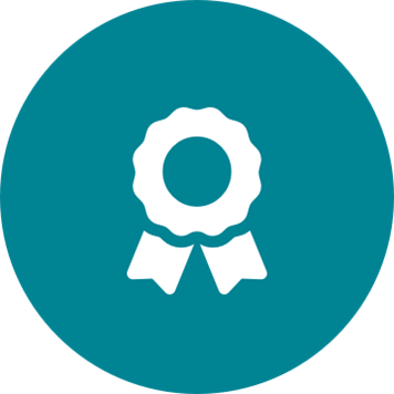 White compliance award icon on a round teal background