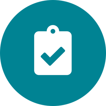 White clipboard with checkmark icon on a round teal background