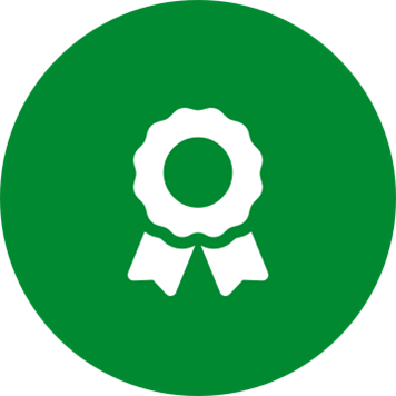 White compliance award icon on a round green background