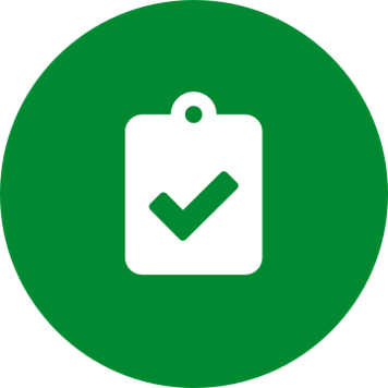 White clipboard check icon on a round green background