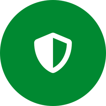 White safety shield icon on a round green background