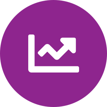 White chart icon on a round purple background