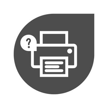 Grey ink drop with a white printer icon in the middle, showing a question mark