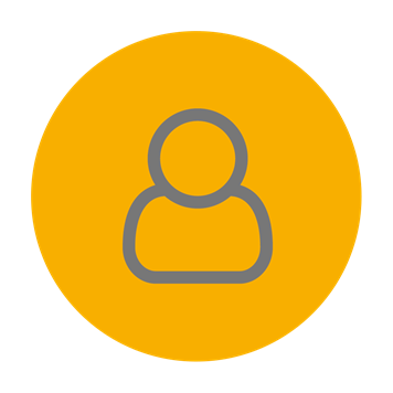 Customer service icon on yellow background
