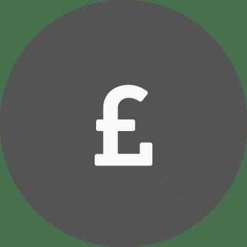 White pound symbol on a grey circle background