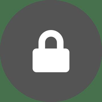 White padlock on a grey circle background