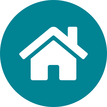Home icon on a circular teal background