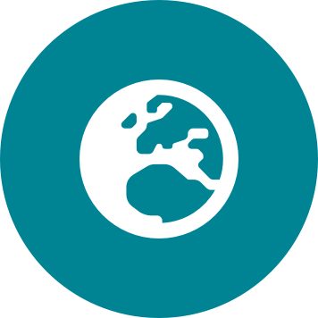 Globe icon on a circular teal background