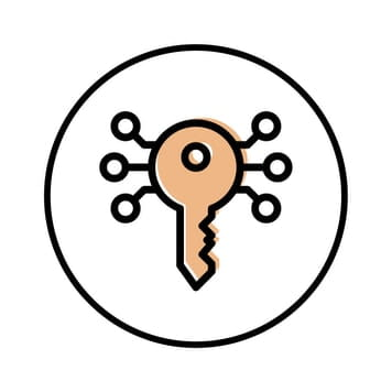 Circular icon with illustration of nodes surrounding a key to represent workflow