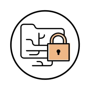Circular icon with illustration of a padlocked folder tree to represent cost efficiency