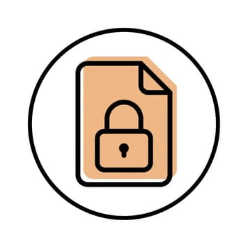 Circular icon with illustration of a padlocked document to represent security