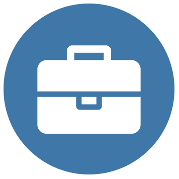 Briefcase icon on blue background