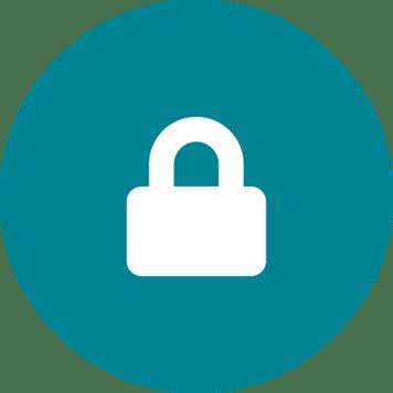 White padlock on a teal circle background