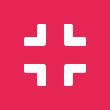 White compress icon on crimson circle