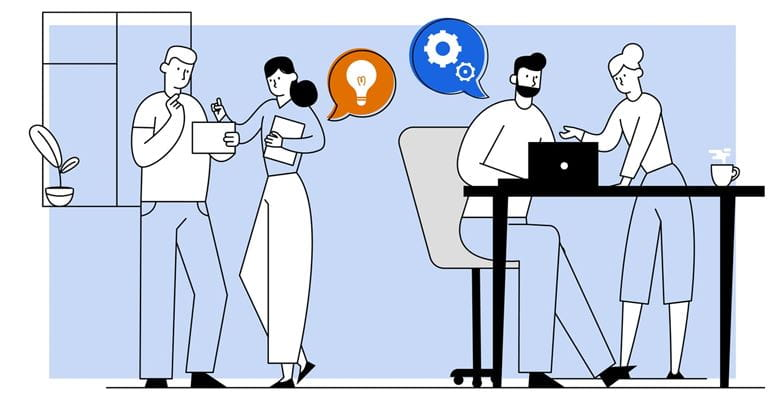 Illustration of a man and woman brainstorming by a window and another man and woman problem solving at a desk using a notebook computer