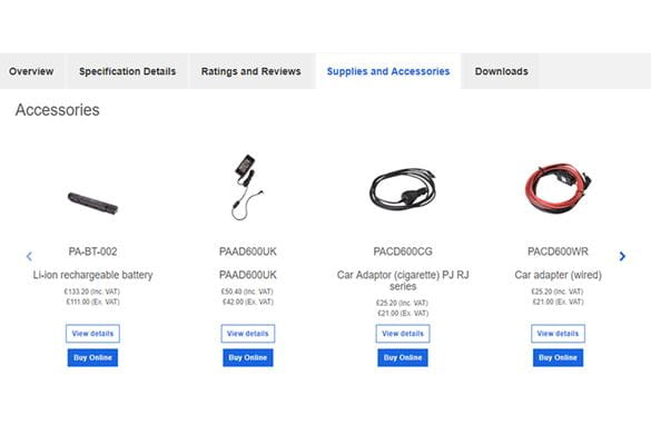 Screenshot of supplies and accessories tab showing four Brother mobile printer accessories