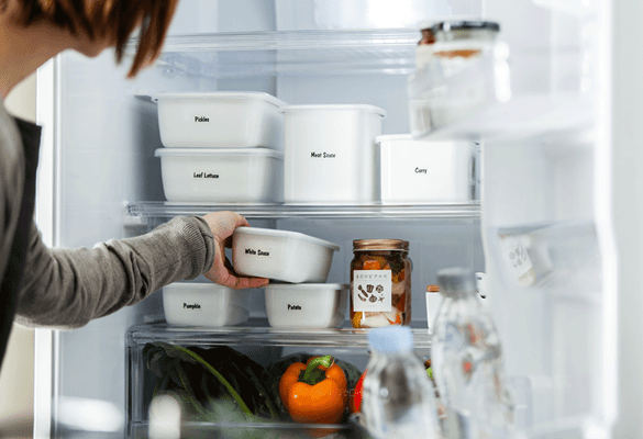 Durable Brother P-touch laminated labels on food storage containers in a freezer