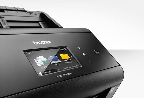 Close up of Brother ADS-3600W desktop document scanner touchscreen