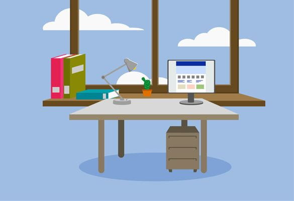 Illustration of a tidy home office desk