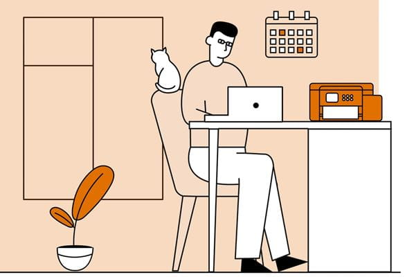 Illustration of a man working on a notebook computer while sat at a desk in a home office environment
