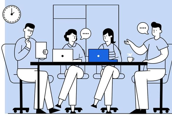 Illustration of four work colleagues having a meeting around a table with notebook computers in front of a window in an office environment